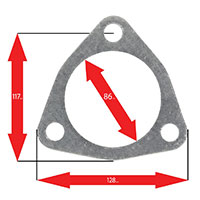 Apexi Triangle Muffler Gasket, 3-Bolt (Nissan, Toyota) Turbo PCD117mm D-86mm