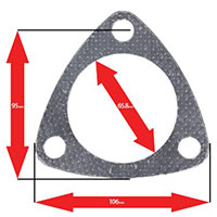 Apexi Triangle Muffler/Downpipe Gasket, 3-Bolt (Nissan) NA PCD95mm D-65.8mm