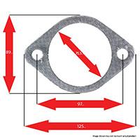 Apexi Oval Muffler Gasket, 2-Bolt (Infiniti, Nissan) P-107mm D-81mm