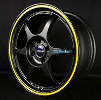 Buddy Club P1 Racing SF Challenge 15X6.5 ET42 4X100 Matte Black w/Yellow