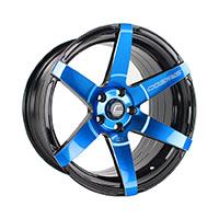 Cosmis Racing S1 Wheel Rim 18x9.5 5X114.3 ET15 Black w/ Blue Face & Milled Spokes