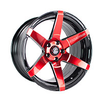 Cosmis Racing S1 Wheel Rim 18x9.5 5X114.3 ET15 Black w/ Red Face & Milled Spokes