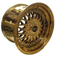 ESM 002R Wheel Rim 15x8 4X100 ET15 57.1 Full Gold Platinum/ ChromeRivets