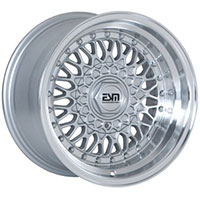 ESM 002R Wheel Rim 15x7 4x100  ET15 57.1 Silver/ Machined Lip