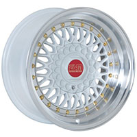 ESM 002R Wheel Rim 16x8 4X100/5x100 ET20 57.1 White/ Machined Lip Gold Rivet