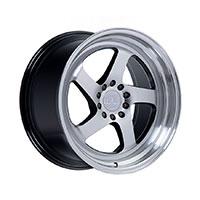 F1R F28 Wheel Rim 17x8.5 5x100 ET38  Machine Black/Polish Lip