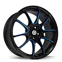 KONIG Illusion Wheel Rim 17x7 5x100 ET40 73.1 Black/Ball Cut Blue