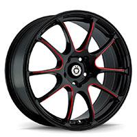 KONIG Illusion Wheel Rim 17x7 5x100 ET40 73.1 Black/Ball Cut Red