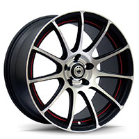 KONIG Z IN Wheel Rim 14x6 4x100/114.3 ET38 73.1 Matte Black Machine Face Red Undercut