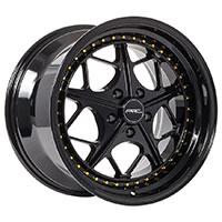 MRR AR2  Wheel Rim 18x8.5 5x100 ET30  73.1 Gloss Black Gold Rivets