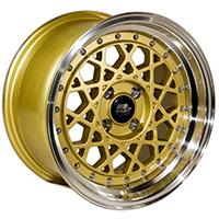 MST Fiori Wheel Rim 15x8 4x100 ET20 73.1 Gold w/Machined Lip