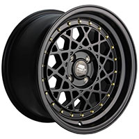 MST Fiori Wheel Rim 15x8 4x100 ET20 73.1 Matte Black w/Gold Rivets