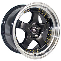 MST MT07 Wheel Rim 17x9 5x114.3 ET20 73.1 Black w/Machined Lip Gold Rivets