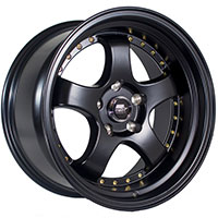 MST MT07 Wheel Rim 17x9 5x114.3 ET20 73.1 Matte Black w/Gold Rivets