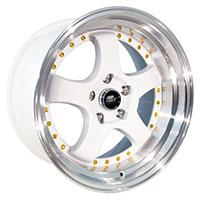 MST MT07 Wheel Rim 17x9 5x114.3 ET20 73.1 White w/Machined Lip Gold Rivets