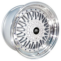 MST MT13 Wheel Rim 15x8 4x100 ET20 73.1 Silver w/Machined Lip