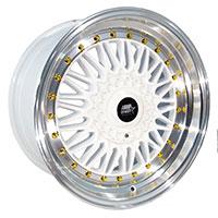 MST MT13 Wheel Rim 15x8 4x100 ET20 73.1 White w/Machined Lip Gold Rivets