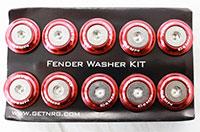 NRG  Fender Washer Kit, Set of 10, Red, Rivets for Plastic