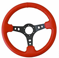 NRG  320mm Sport Leather Steering Wheel Red Leather w/ Yellow Stitching