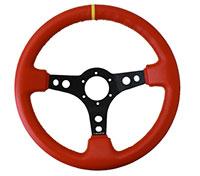 """NRG  350mm Sport Steering Wheel (3"""" Deep) Red Lthr w/ Ylw Stitching w/Ylw Strp"""