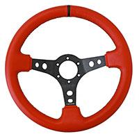 """NRG  350mm Sport Steering Wheel (3"""" Deep) Red Lthr w/ Blk Stitching w/Blk Strp"""