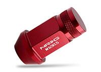 NRG 100 Series M12 x 1.5 Lug Nut Set 4 pc Red Closed End