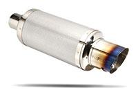 "NRG  Muffler Silver Carbon / Burnt tip 3.0"""