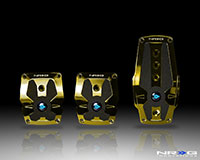 NRG  Chrome Gold aliminum sport pedal w/ Black rubber inserts MT