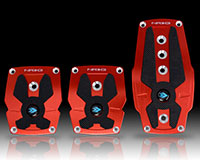 NRG  Brushed Red aliminum sport pedal w/ Black rubber inserts MT