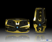 NRG  Chrome Gold aliminum sport pedal w/ Black rubber inserts AT