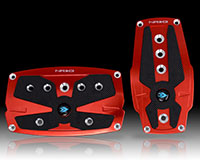 NRG  Brushed Red aliminum sport pedal w/ Black rubber inserts AT