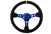 "NRG  350mm Sport Steering Wheel (3"" Deep) - Blue Spokes"