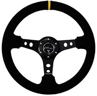 "NRG  350mm Sport Steering Wheel (3"" Deep) - Suede w/ Yellow Center Mark"