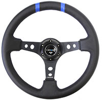 "NRG  350mm Sport steering wheel (3"" Deep) Black w/ Blue Double Center Marking"