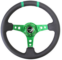 "NRG  350mm Sport Steering Wheel (3"" Deep) Green w/ Green Double Center Marking"