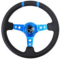 "NRG  350mm Sport Steering Wheel (3"" Deep) New Blue w /Blue Double Center Marking"
