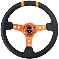 "NRG  350mm Sport Steering Wheel (3"" Deep) Orange w/ Orange Double Center Marking"