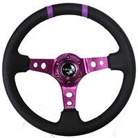 """NRG  350mm Sport Steering Wheel (3"""" Deep) Purple w/ Purple Double Center Marking"""