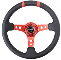 """NRG  350mm Sport Steering Wheel (3"""" Deep) Red w/ Red Double Center Marking"""
