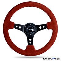 """NRG  350MM Sport Steering Wheel (3"""" Deep) - Red Suede"""