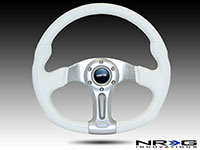 "NRG  350mm ""Storm Trooper"" Sport White Leather with white stitching Steering Wheel Oval"