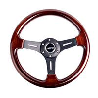 NRG  Classic Wood Grain Wheel, 330mm, 3 spoke center in matte black