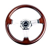 NRG  Classic Wood Grain Wheel, 330mm, 3 spoke center in chrome