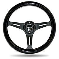 NRG  Classic Wood Grain Wheel - 350mm 3 Black spokes - Black Paint Grip
