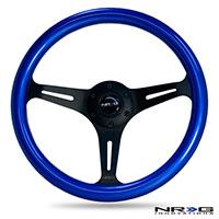NRG  Classic Wood Grain Wheel, 350mm 3 black spokes, blue pearl/flake paint