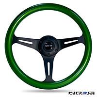 NRG  Classic Wood Grain Wheel, 350mm 3 black spokes, green pearl/flake paint