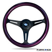 NRG  Classic Wood Grain Wheel, 350mm 3 black spokes, purple pearl/flake paint