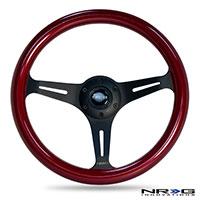 NRG  Classic Wood Grain Wheel, 350mm 3 black spokes, red pearl/flake paint