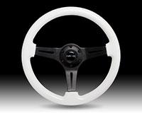 NRG  Classic Wood Grain Wheel - 350mm 3 black spokes - Glow-n-the-dark grip