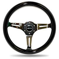 NRG  Classic Wood Grain Wheel - 350mm 3 Brushed alluminum spokes - Black Grip